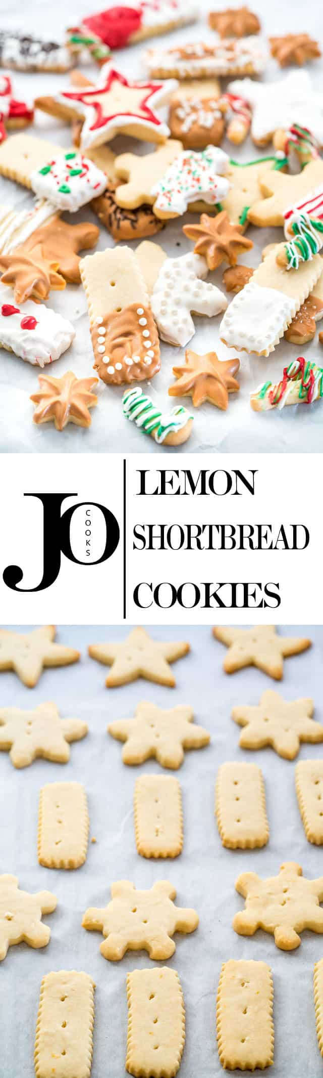 Lemon Shortbread Cookies - Classic shortbread with a lemony twist. Using only 4 ingredients and festive decorations, fill your house with the wonderful aroma of Christmas justin time for the holidays. www.jocooks.com #shortbread