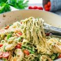 Pesto Shrimp Asparagus Pasta