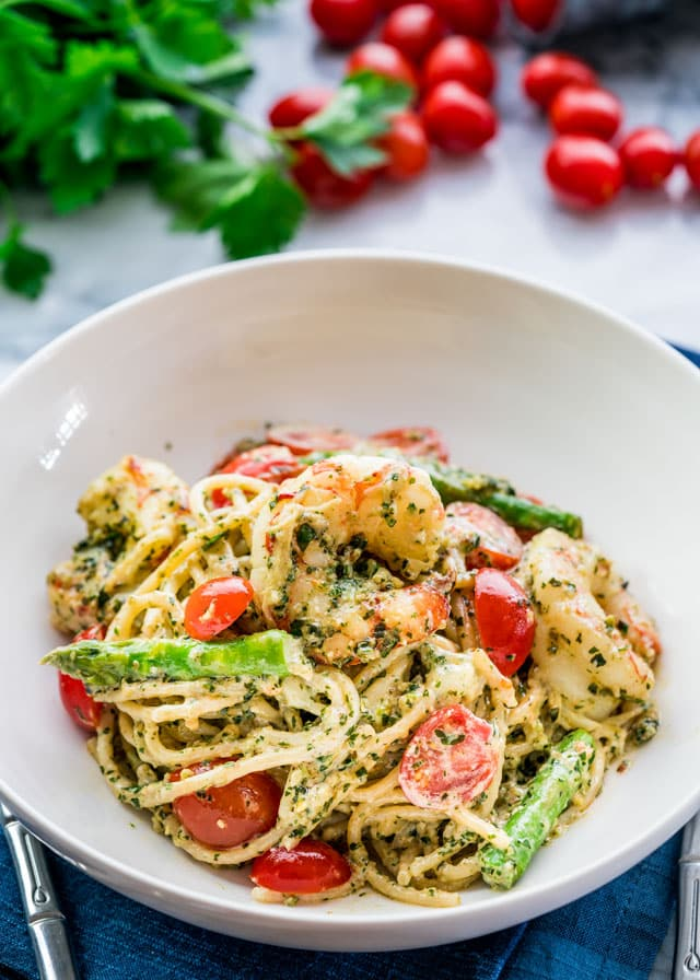 Pesto Shrimp Asparagus Pasta in a white bowl