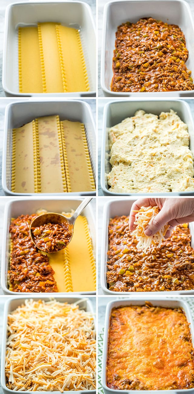 process shots of making taco lasagna