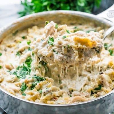 Skillet White Chicken Lasagna