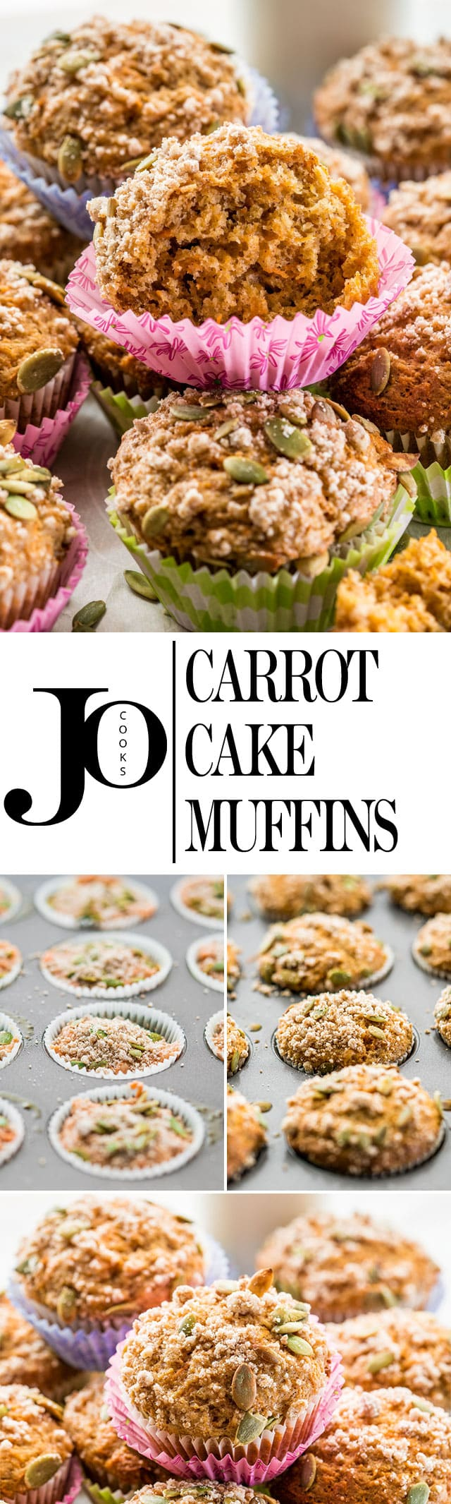 These incredible healthy Carrot Cake Muffins come complete with a delicious streusel topping and pepitas for an extra crunch. www.jocooks.com #carrotcake