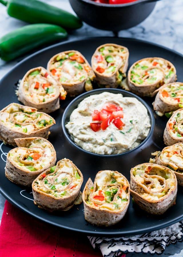 Cheesy Chicken Veggie Rollups on a plate
