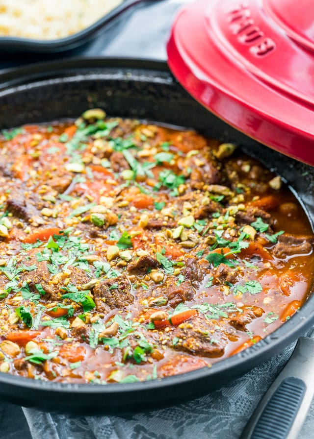 This Moroccan inspired Lamb and Chickpea Tagine is a delight. It's the perfect one pot dinner for a comforting and delicious meal with melt-in-your-mouth lamb, chickpeas and golden raisins.