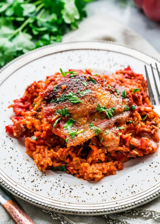 One Pot Spanish Chicken and Rice - Jo Cooks