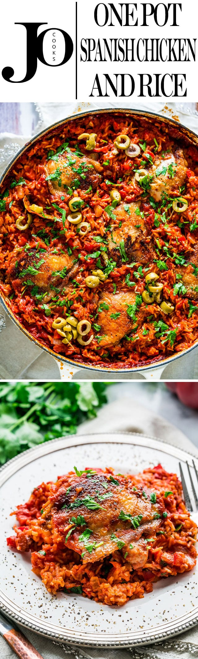 This One Pot Spanish Chicken and Rice is packed with great flavors and vibrant colors! Easy to make and all in one pot, from the stove top to the oven, dinner is ready with no fuss! www.jocooks.com #onepot