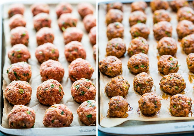 meatballs on a baking sheet ready to be baked