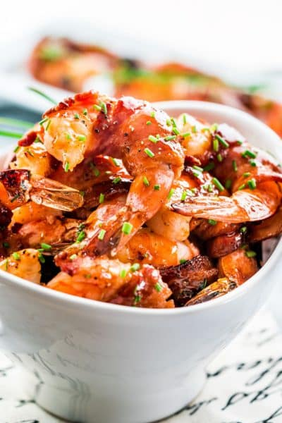 Maple BBQ Glazed Bacon Wrapped Shrimp