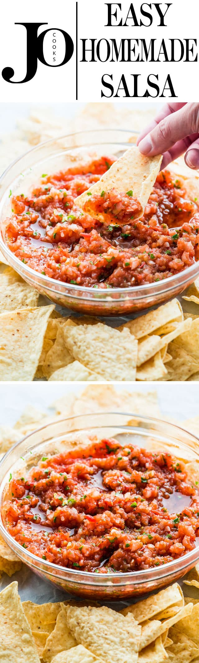 Homemade Salsa with fresh ingredients and full of flavor, just like the one you're served at your favorite restaurant! This restaurant style salsa is made with roasted tomatoes and onions which enhances all the flavors. Delicious and simple! #salsa #homemade