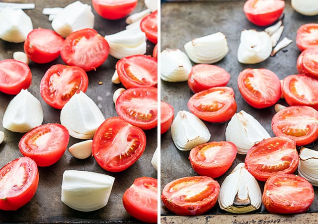 roasted tomatoes and onions on a baking sheet for salsa