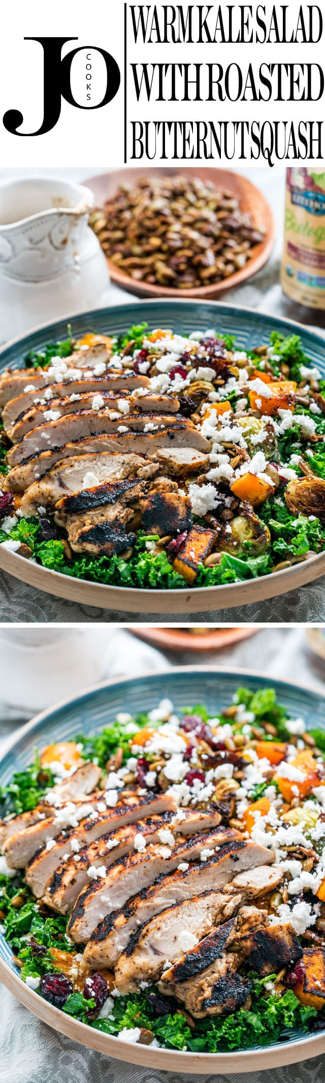 This Warm Kale Salad with Roasted Butternut Squash, balsamic vinaigrette, grilled chicken and sugared roasted pumpkin seeds is the best kind of comfort food perfect for cool autumn evenings!
