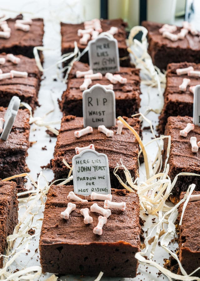These Halloween Candy Brownies are fudgy, rich, chocolatey and decadent. Each bite will be a surprise as there is lots of assorted candy hidden in each brownie! Perfect for your leftover halloween candy!