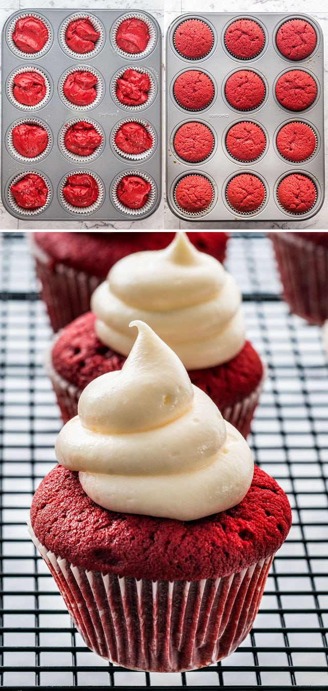 red velvet cupcakes before and after baking