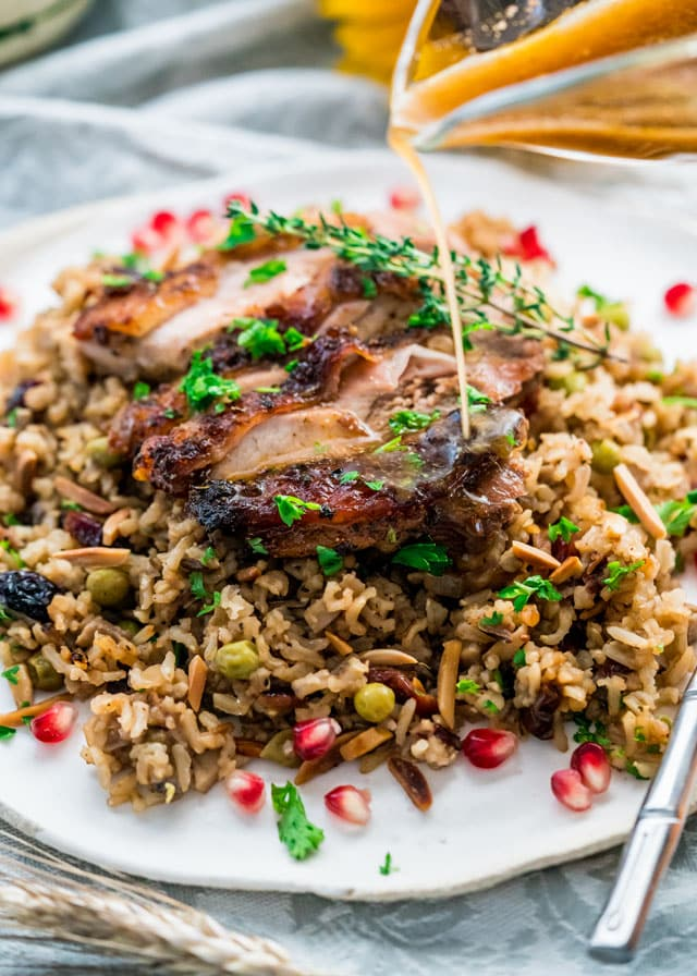 harvest rice topped with roasted turkey and thyme