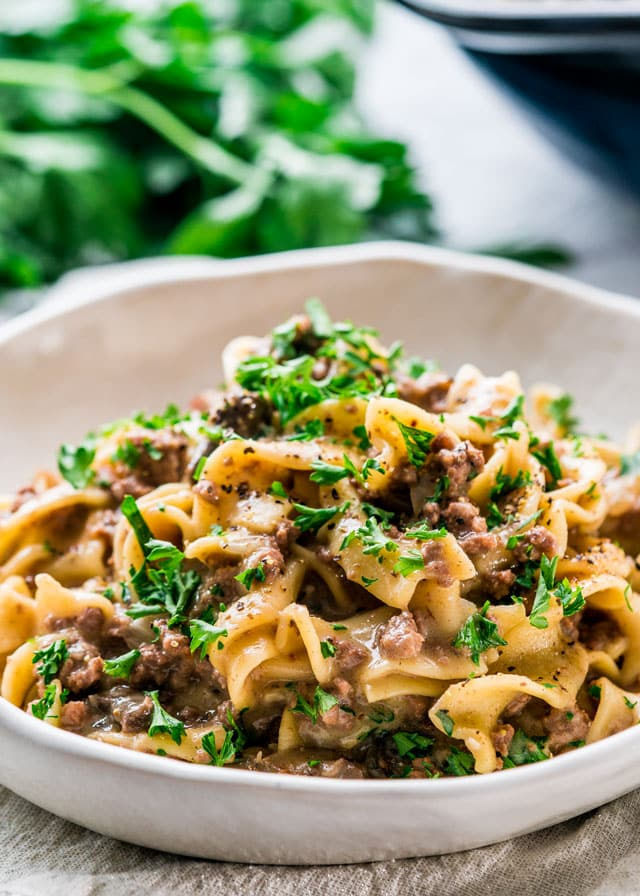 instant pot beef stroganoff in a white plate on fabric