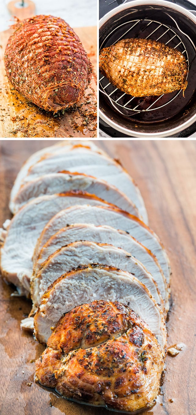 Seasoned, cooked, and sliced Instant Pot Turkey Breast on a cutting board