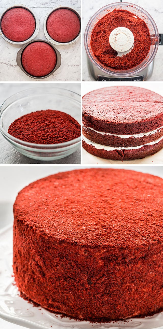 process of coating the Red Velour Cake in crumbs