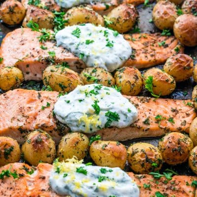Salmon with Dill Sauce and Roasted Baby Potatoes Sheet Pan Dinner