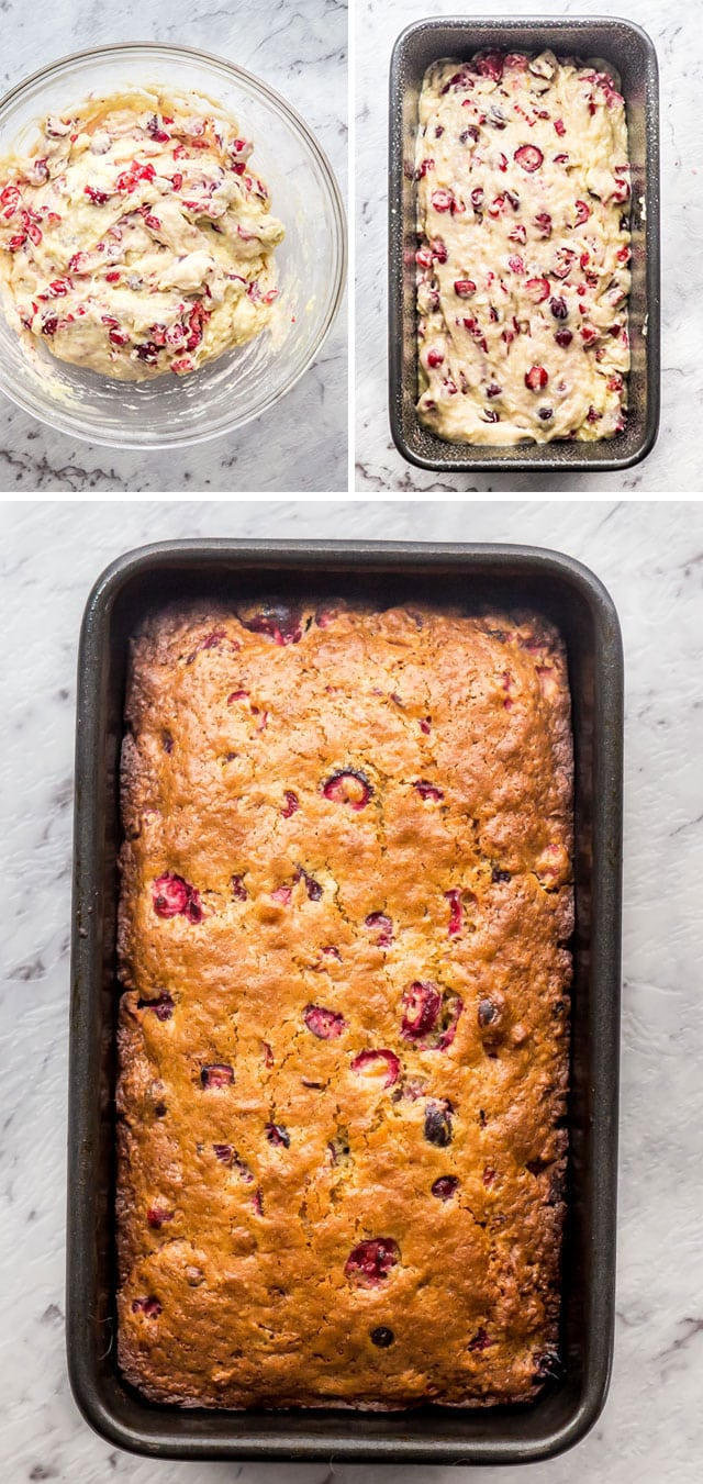 process shots of cranberry quick bread