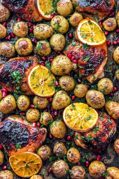One Pan Roasted Honey Orange Chicken and Potatoes