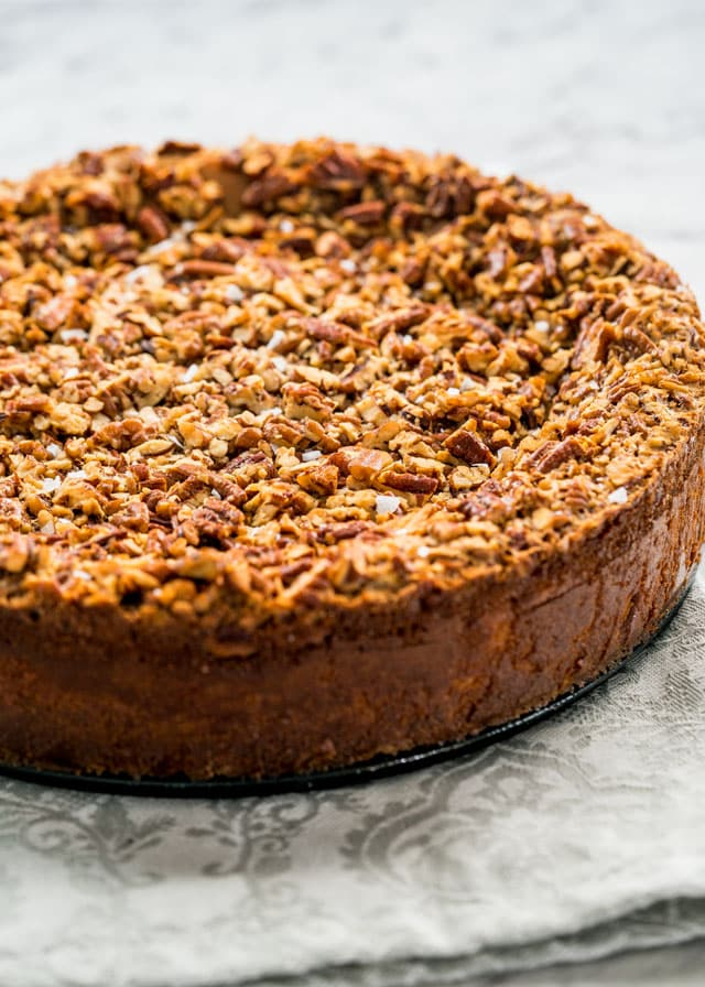 Pecan Pie Cheesecake topped with flaked seasalt