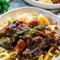side view shot of a bowl of noodles topped with beef bourguignon