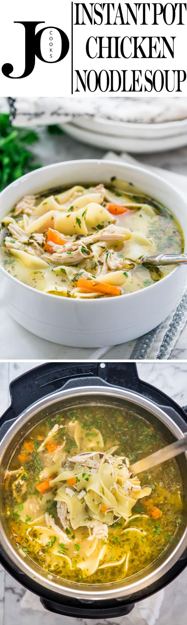 Instant Pot Chicken Noodle Soup made from scratch and in a fraction of the time. Delicious and hearty, loaded with noodles and chicken, this soup will warm the cockles of your heart. www.jocooks.com #instantpotsoup