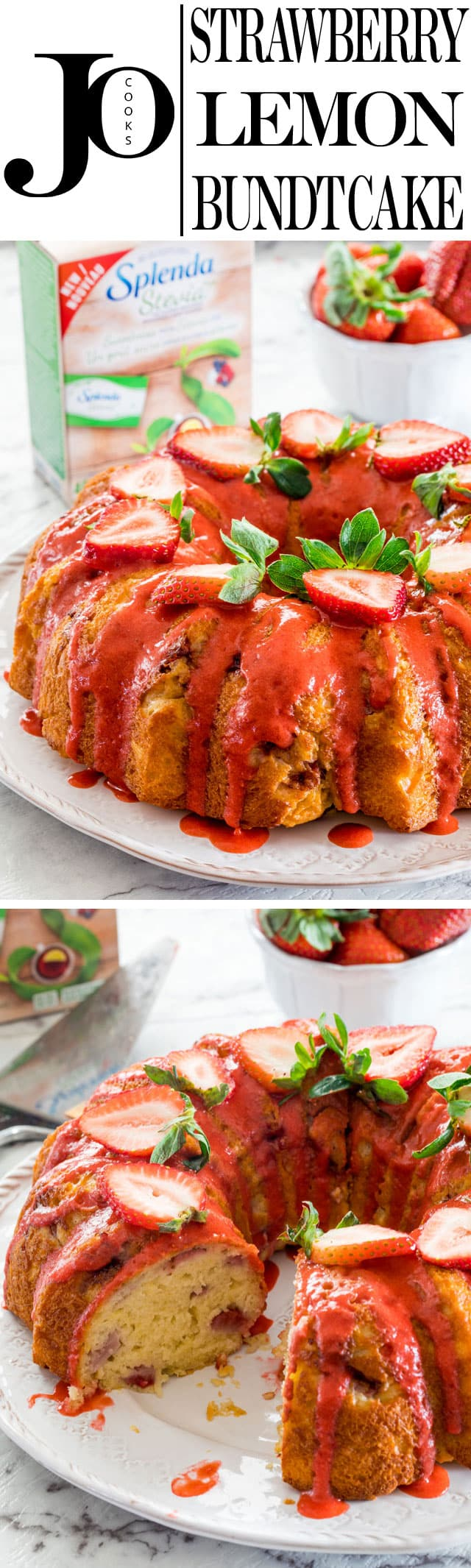 This Strawberry Lemon Bundt Cake is loaded with strawberries and drizzled with a strawberry coulis. Incredibly delicious and best of all it doesn't call for sugar. www.jocooks.com #splenda