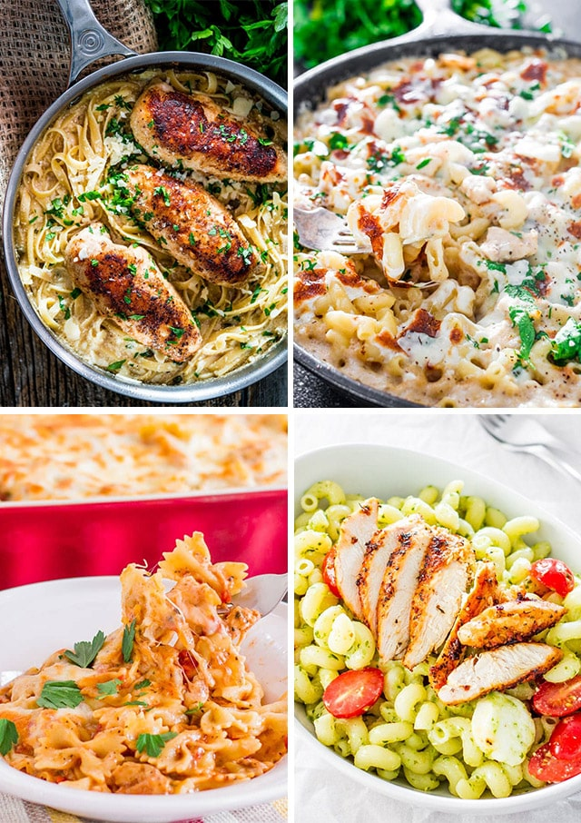 a collage of 4 chicken pasta recipe pictures