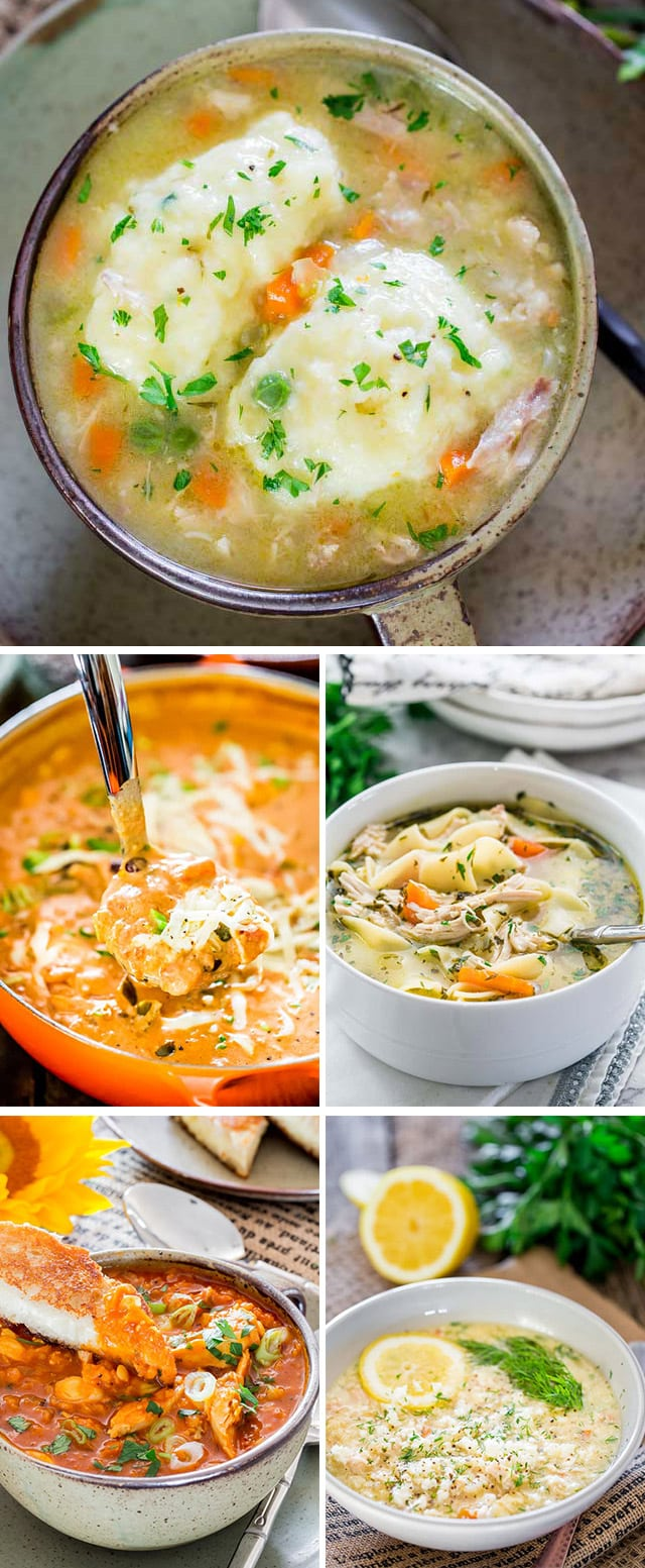 a collage of 5 chicken soup recipe pictures