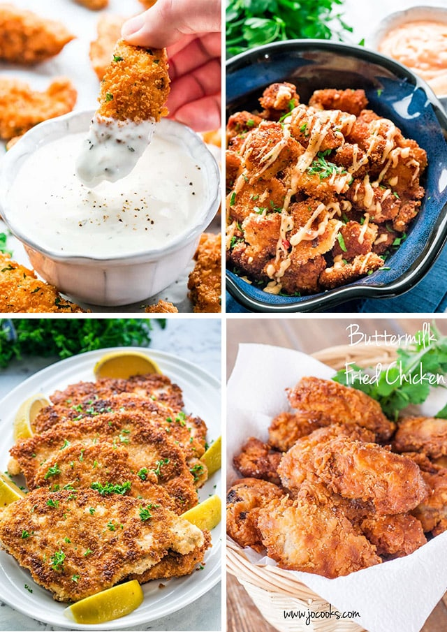 a collage of 4 fried chicken recipe pictures