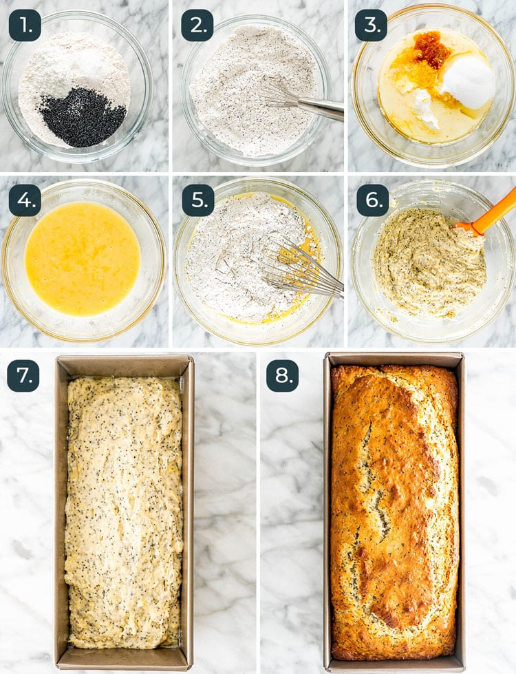 process shots showing how to make lemon poppy seed bread