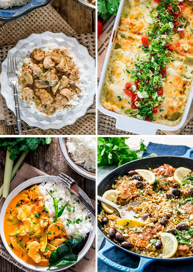 a collage of 4 one pot 30 minute chicken recipe pictures