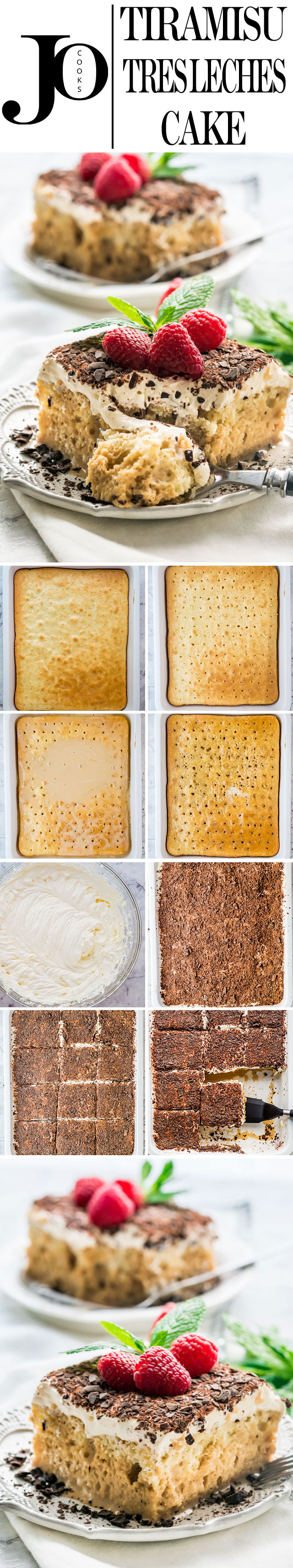 This Tiramisu Tres Leches Cake combines two classics into one incredibly delicious and decadent cake. This elegant Tres Leches Cake espresso spiked, topped with a heavenly mascarpone topping is perfect and truly special. #tiramisu #tresleches