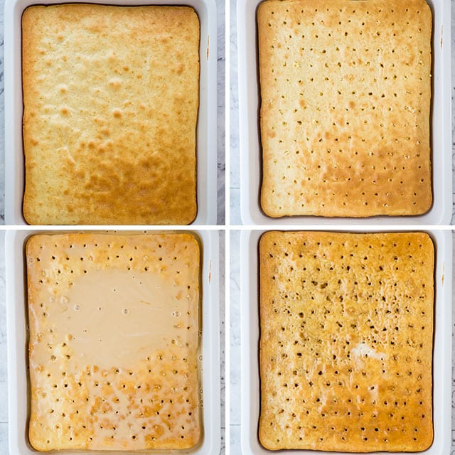 photo collage of tres leches cake soaking milk