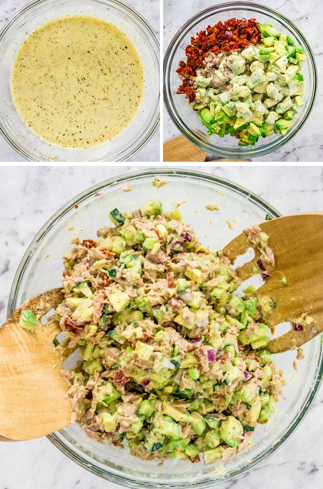 process shots for making Avocado Tuna Salad