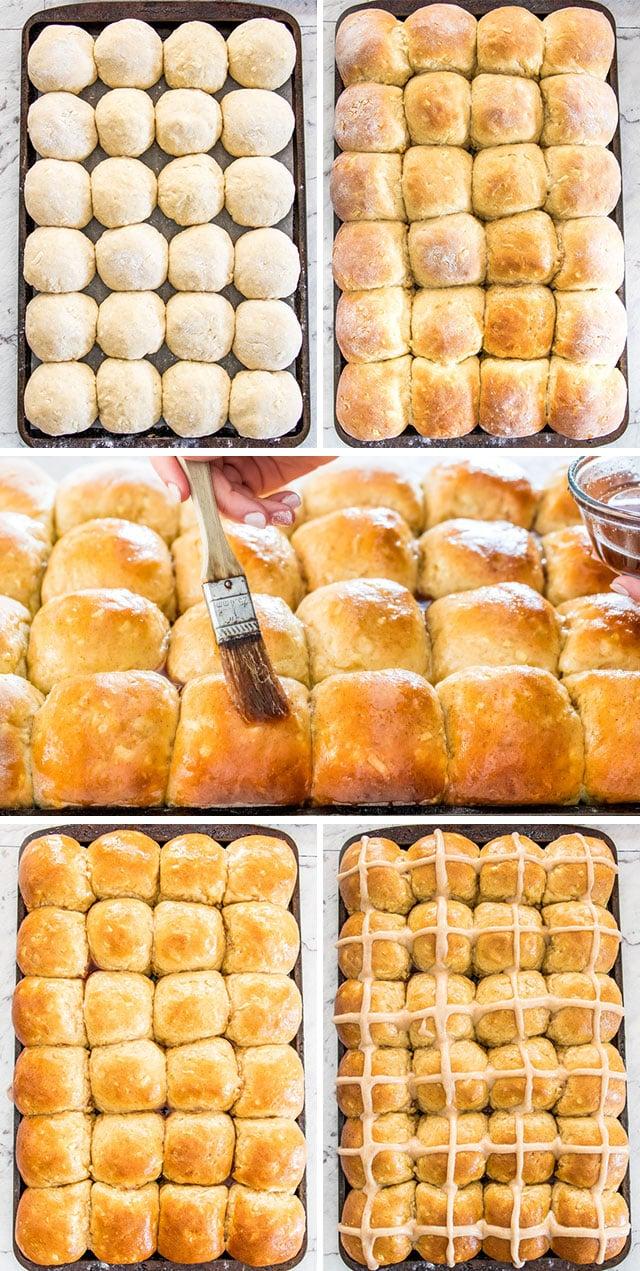 process shots of baking hot cross buns