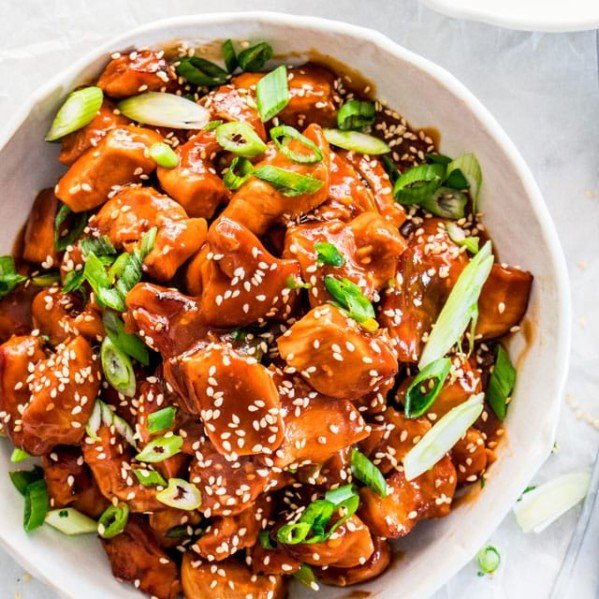 overhead shot of instant pot general tso's chicken in a bowl