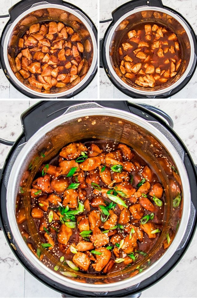 process shots of making instant pot general tso's chicken