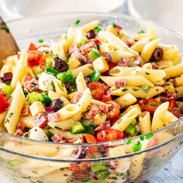 italian pasta salad in a big clear bowl