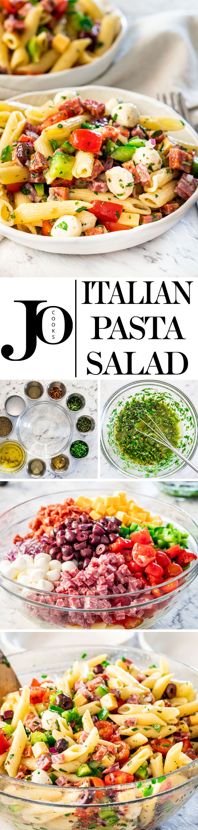 This Italian Pasta Salad is what everyone needs in their go-to recipe arsenal for quick and easy recipes ideal for a potluck, picnic or any other summer get-togethers. It's healthy, it's fast, super easy to make, delicious and bursting with flavor. #italianpastasalad