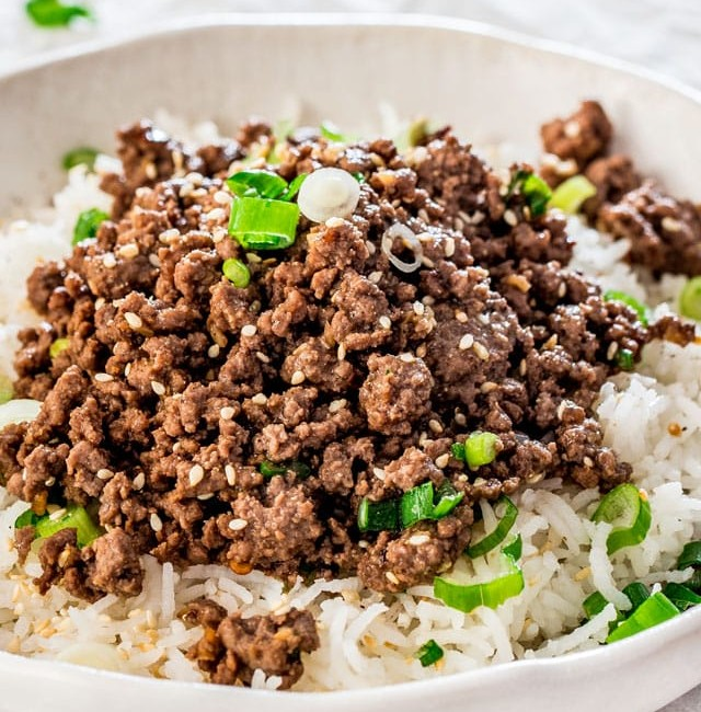 side view shot of a korean beef and rice bowl
