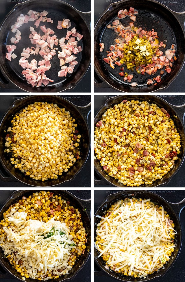 Process shots for bacon corn dip