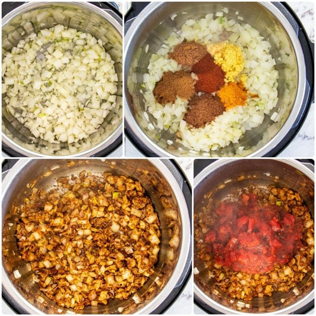 process shots for adding onion and spices to instant pot for making Instant Pot Chicken Tikka Masala