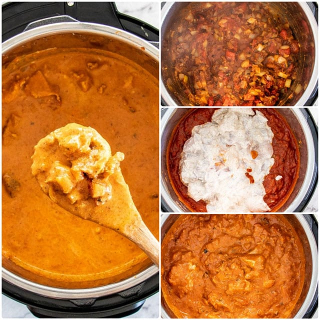 process shots for making instant pot Chicken Tikka Masala