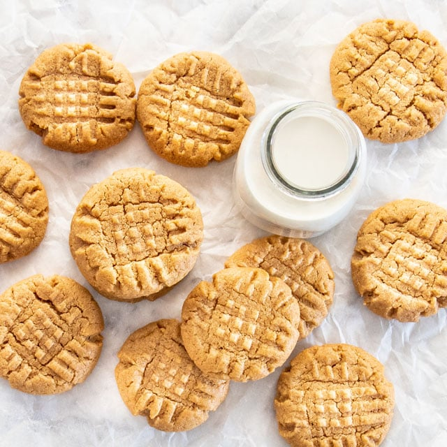 overhead shot of 3 Ingredient Peanut Butter Cookies