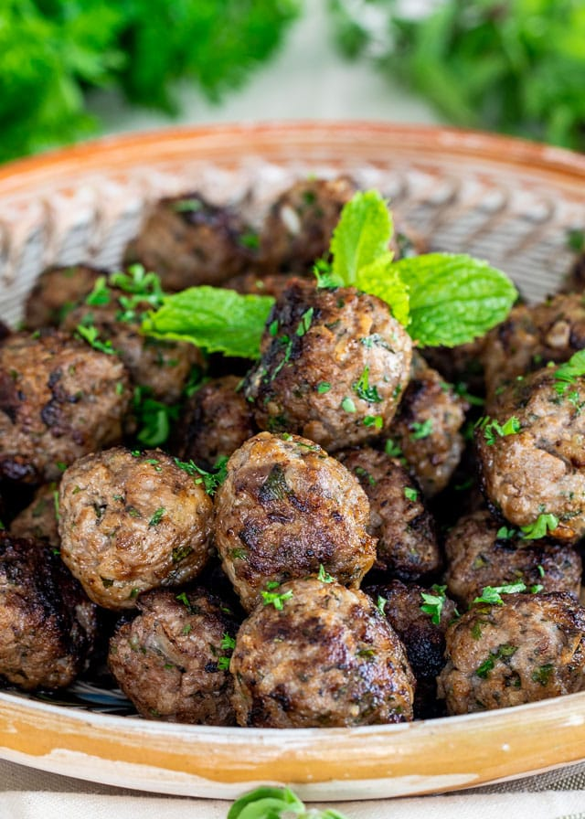 close up of Greek Meatballs