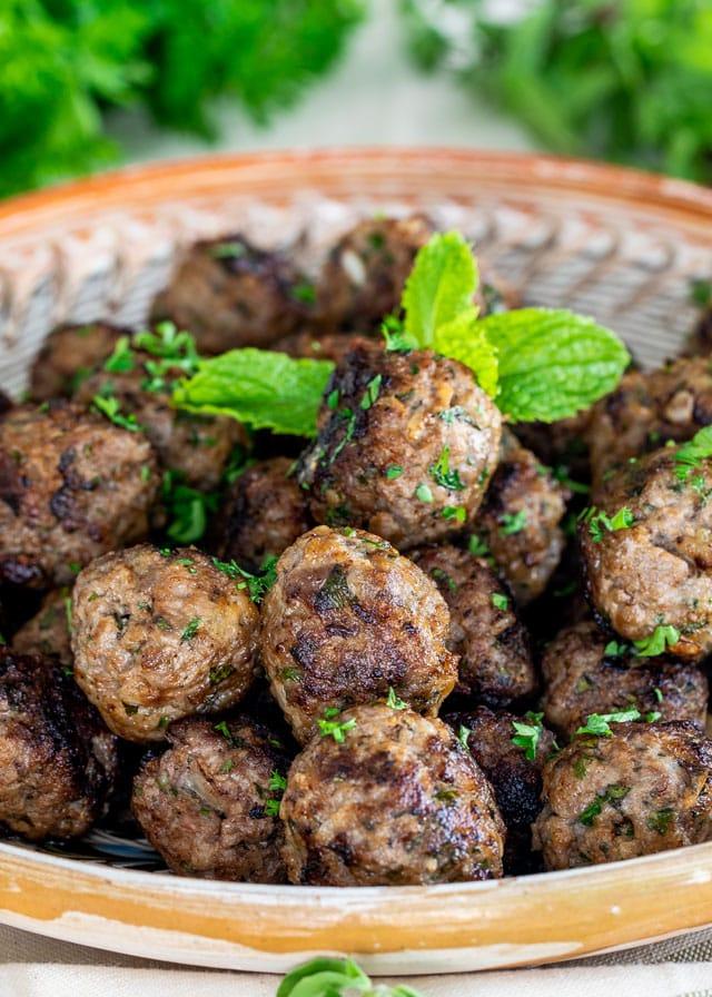 close up of Greek Meatballs