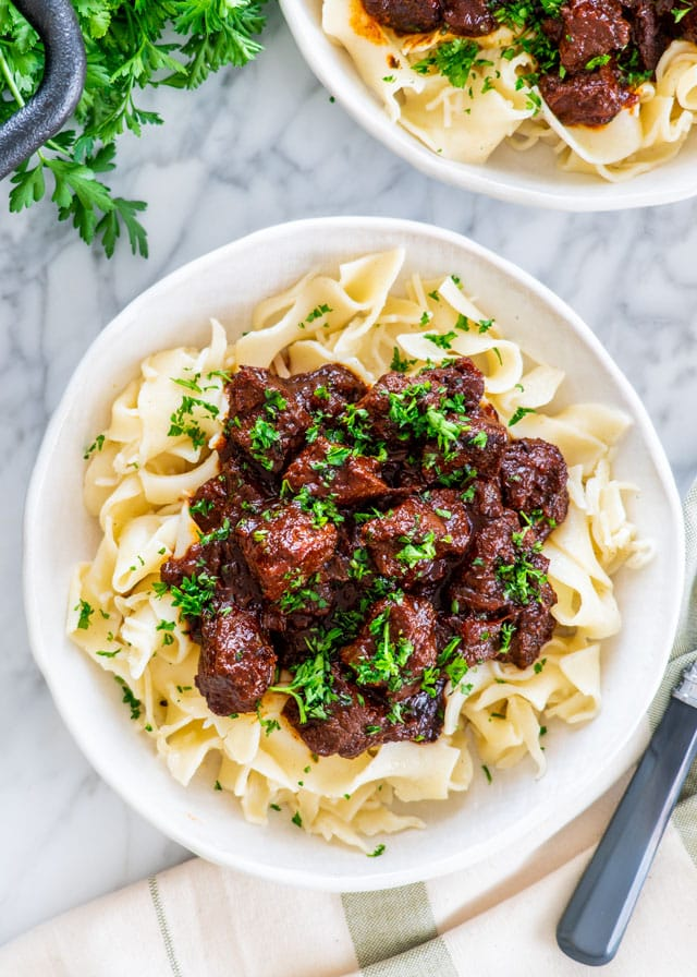 Hungarian Goulash over noodles