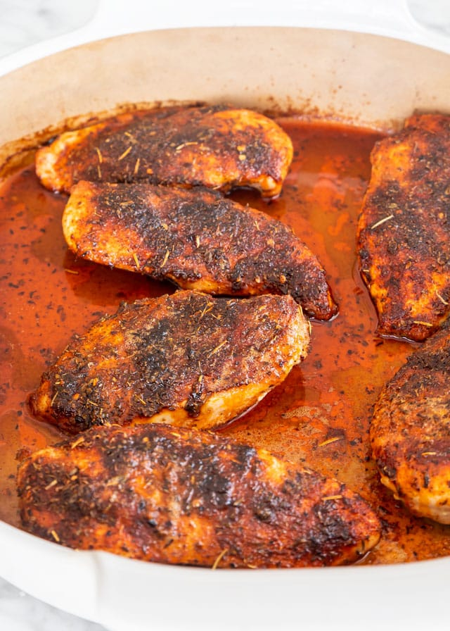 Baked Chicken Breast in a casserole dish